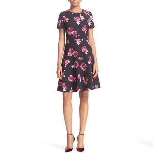 Kate Spade Encore Rose Crepe Fit & Flare Dress